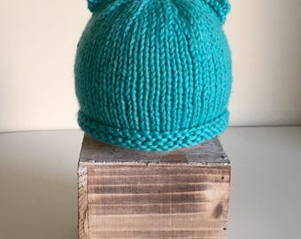 Newborn // Baby Monkey Hat // Hand Knit // Baby Hat // Monkey Ear Hat