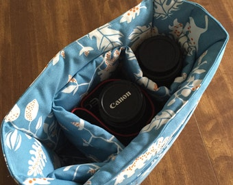 removable padded camera insert // purse organizer insert // floral blue twig // READY TO SHIP