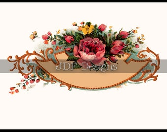 Instant Digital Download, Antique Victorian Graphic, Rose Floral Label, Place Card, Spring Printable Image Scrapbook, Text Box, Wedding