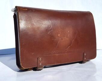 Antique Vintage French Kids Schoolbag / Genuine quality leather Kids Bag / Messenger bag for kids/