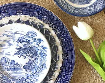 Mismatched Blue & White China Ironstone Dinnerware . Service for 4.  Transfer Ware . Blue Willow Plate Plates . Churchill Johnson Brothers