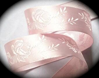 "Satin Ribbon  1"" wide  x 5 yards Pink Floral"