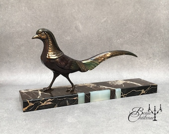 Large Rare Art Deco Spelter French Statue of Pheasant on Marble Base. Outstanding Condition with no chips. Original Vintage 20/30s sculpture