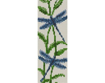 Two Dragonflies Loom Bead Pattern, Bracelet Cuff, Bookmark, Seed Beading Pattern Miyuki Delica Size 11 Beads - PDF Instant Download