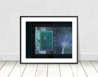 Teal Blue Green and Purple on Black Background - Floral Collage Print  - Instant Digital Download - Wall Art - Abstract Art