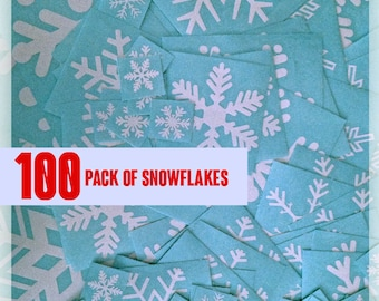 100 Snowflake Vinyl Decals for Winter decorations, Holiday decor — Christmas Stickers