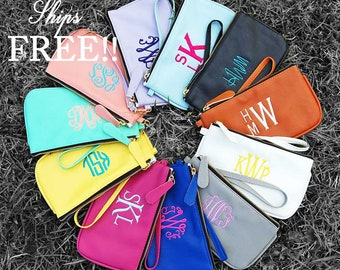 Monogram Wristlet-Monogram-Purse-Monogrammed-Wristlet-Clutch-Coin Purse-Vegan Leather-Vegan Wallet-Clutch Purse-Zipper Pouch-phone wallet