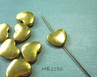 Gold Heart Beads Double Sided Slightly Puffed Design 10x13mm, 1.25 hole MB1186