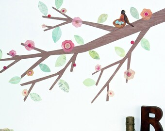 Pink Blossom Branch with Bird on Nest Fabric Wall Decals - Branch Wall Decal
