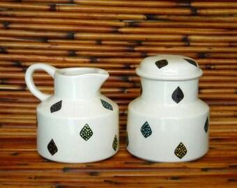 White Earthenware Ceramic Hand Made Family Sugar Bowl and Creamer Set