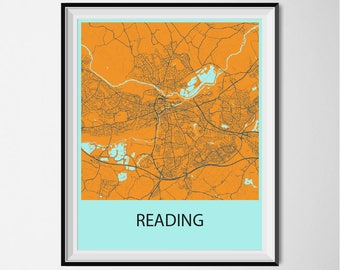 Reading Map Poster Print - Orange and Blue