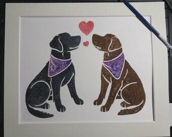 "LABRADOR RETRIEVER (Labs) - black and chocolate Lab dogs original 10x12"" watercolour cartoon, dog gifts by York animal artist J Chappell"