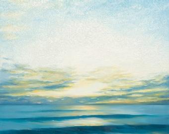 GICLEE Fine Art Reproduction on 8.5x11 PAPER - Autumn Dawn by Daina Scarola (beach cottage, white and blue, sunrise, seascape, ocean, surf)
