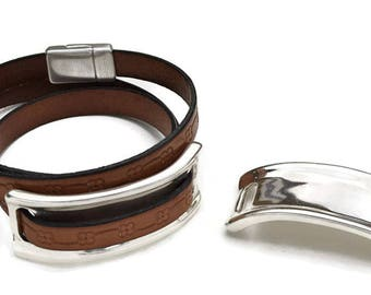 Wide Band Silver Half Cuff Finding for use with Round of Flat Leather - High Quality Metal Casting - Made in EU - Qty. 1