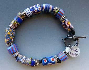Vintage African Trade Bead Bracelet in Blues