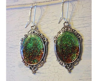 Earrings cabochon green orange galaxy medieval influence