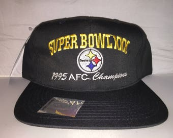 Vintage Pittsburgh Steelers Snapback hat cap rare 90s deadstock NFL football Super Bowl XXX AFC Champions new with tags
