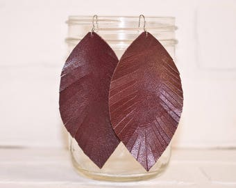 "4 1/2"", recycled, burgundy earrings, leather feather earrings, leaf jewelry, dangle earrings, feather2, tassel earrings, stacylynnc"