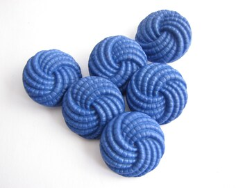 6 royal blue buttons, vintage cobalt blue shank buttons with swirl design, 23 mm, unused