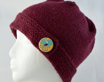 Octopus Button Brim Hat, Hand Knit Beanie, Knitted Winter Hat, Octopus Beanie, Knit Wool Hat, Warm Winter Hat, Burgundy Cloche
