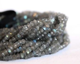 "Labradorite Beads - Full Strand 13.5"" - 3mm x 4mm Rondelle Beads - Faceted Beads - Gray Beads - Wholesale Beads - Gemstone Findings / GB-007"