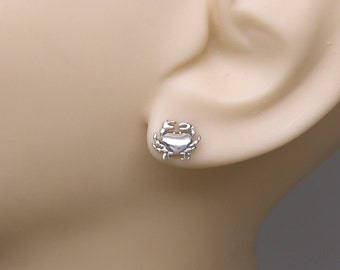 Earrings Crab Sterling Silver Cancer Zodiac Beach Seafood Ear Studs no. 3433
