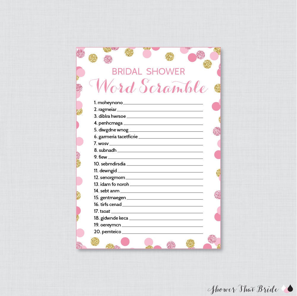 Pink And Gold Bridal Shower Word Scramble Printable
