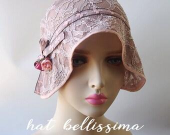 SALE  1920s Cloche Hat  flowers  cotton Lace fabric Vintage Style hat hatbellissima Summer Hats