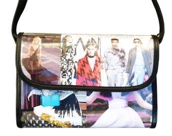 Medium cross-body fashion magazine, FREE SHIPPING, Upcycled bag, cross body purse, Recycled hipster bag, shoulder bag, sling bag