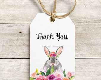 Easter gift tags etsy thank you tags bunny thank you tags rabbit thank you tags gift tags negle Images