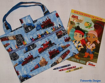 Trains, Child's Coloring Supplies Cotton Tote, Storage for Crayons and Coloring Books, Kids Arts and Crafts Caddy, Travel Bag for Children