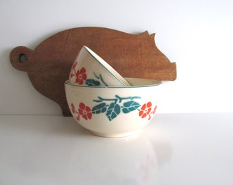 Vintage Pottery Mixing Bowls Bennett Bakeware Orange Poppies Green Leaves Two 1930's Depression Era Vintage Bowls