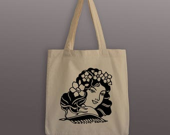Old School Tattoo Tote Bag - Cotton Tote Bag - Pinup Tote Bag - Lady Tattoo - Vintage Tattoo Tote - Gifts for Her
