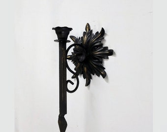 Vintage Metal Wrought Iron Wall Candle Sconce Black Gold Leaf Gothic Steampunk