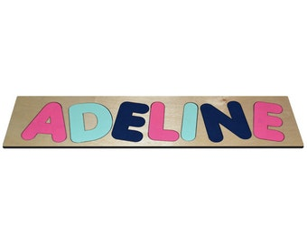Funky Fonts Personalized Wooden Name Puzzles A Splash of Mermaid Bright Pink, Midnight Blue, Key West id240085213