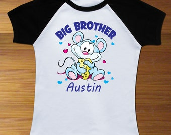 Big Brother Custom Name with Mouse Toddler Shirt