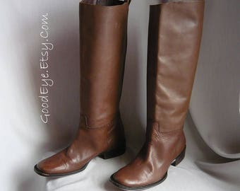 Vintage STOVEPIPE Riding Boots / size 8 Eu 38.5 Uk 5.5 / Chestnut Brown Leather / Slouch Stack Flat Heel Knee Tall / made in Spain