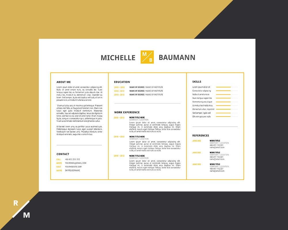 creative resume template horizontal landscape modern