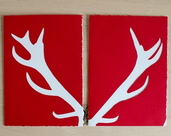 "5""x7"" Hand Cut Elk Antler Red and White Greeting Card, Deer Antlers,"