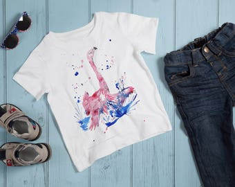 Kids Flamingo T-Shirt, Pink Flamingo Tshirt, Abstract Art Shirt, Pink Lover Tee, Bird Lover Clothing, Flamingo Lover Gift, Abstract Bird