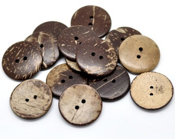 10 Brown Coconut Shell Buttons 23mm - Natural and Eco Friendly  (BC603C)