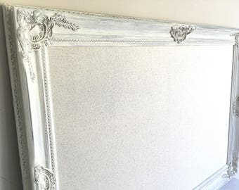 Wedding Seating Chart BULLETIN BOARD Fabric Memo Board Framed Seating Card Holder Linen Vintage White Distressed Wedding Decor Sign Large