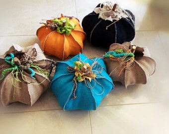 Pumpkin-Fabric sculpture-Burlap-handmade-decorative item-halloween gift- Boho decor-ooak pumpkin-stuffed pumkin