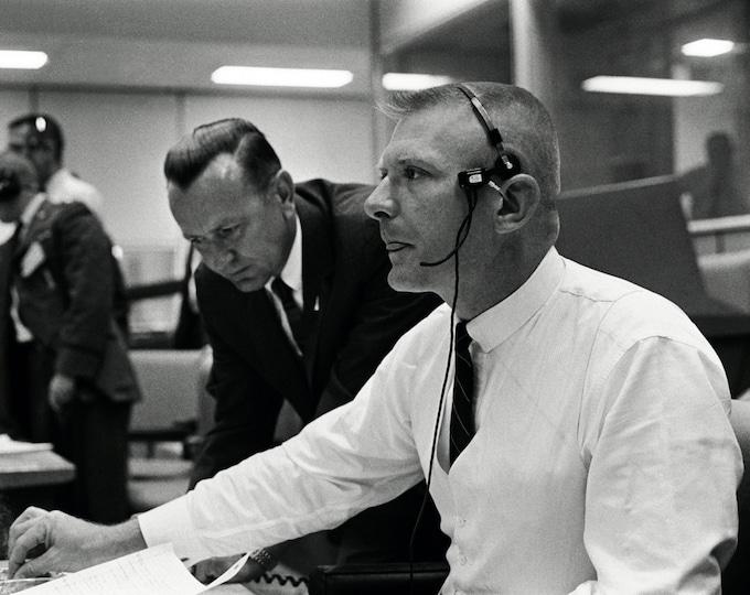 Flight Controller Gene Kranz & Chris Kraft During the Scrub of the Gemini 9 Launch - 5X7, 8X10 or 11X14 NASA Photo (AA-442)