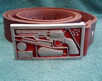 Boxed Navy Colt Belt Buckled Oil Tanned Leather Belt.
