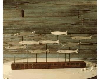 Funky Fish Sculpture Minnow Fish School Wood Fish Art Beach Decor Coastal Decor