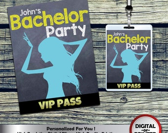 Chalkboard Bachelor party VIP Pass Badges Personalized for bachelor party