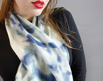Silk scarf - floral cyanotype print with blue and white botanical stem pattern