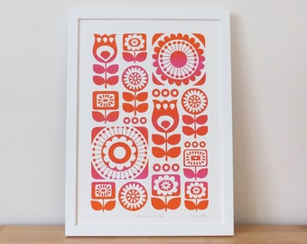 Retro Flower Prints / Flower Print / Flower Wall Art / Retro Flower Art / Flower Screen Print / Orange Print / Floral Print / Fran Wood