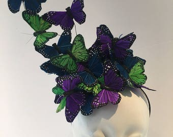 Butterfly fascinator- Butterfly Hat- Monarch Headband- High Tea- Butterfly Headdress- Butterfly hat- Derby- Kentucky Derby Hat- Fascinator